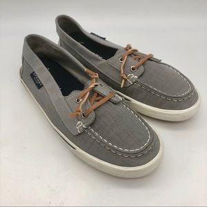 Sperry gray canvas topsiders